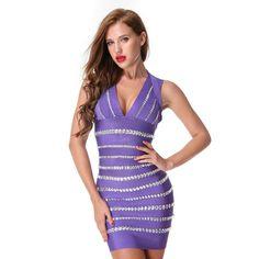 Purple Beaded V-neck Bodycon Mini Dress