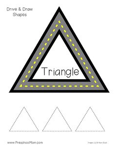 Shapes Activities for Preschoolers! Hands-on Preschool Math Printables: Drive and Trace Shapes. This free set of Shape Tracing Worksheets is great for PreK! Shape Tracing Worksheets, Shapes Flashcards, Tracing Shapes, Preschool Printables, Preschool Worksheets, Preschool Activities, Preschool Shapes, Shape Activities, Montessori Art