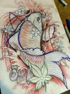 Tat 2 Japanese Drawings, Japanese Tattoo Designs, Japanese Tattoo Art, Fish Drawings, Japanese Art, Tatoo Art, Body Art Tattoos, Sleeve Tattoos, Tattoo Sketches