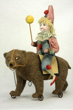 Antique Early German Noisemaking Bear Pull Toy w/ Bisque Head Clown Rider c1890