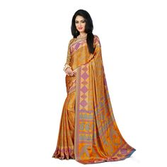 Golden Crepe Wrinkle Saree with Blouse Sarees on Shimply.com