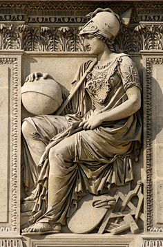 Athena by Philippe-Laurent Roland, 1806. Relief on the right of the central window, droite part of the West façade of the cour Carrée in the Louvre palace, Paris.