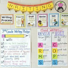 We love the Teacher Trap's writing wall! You can get her Writing Workshop resource that includes these writing process printable posters, detailed lesson plans, conference guide, planner, rubrics and more {grades 1-5}
