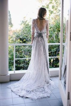 We have a thing for colored wedding dresses. If going pink or black isn't your style, try a more subtle color like gray.