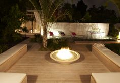 modern outdoor fireplace - Google Search