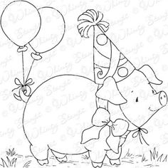 Whimsy Stamps - Rubber Stamps, Clear Stamps, and Whimsy Stamps, Ink Stamps, Pig Birthday, Birthday Cards, Embroidery Art, Embroidery Patterns, Birthday Card Drawing, Pig Illustration, Decoupage