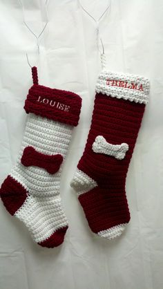 "Personalized Dog Christmas Stocking -- I know, I'm ridiculous but my stocking is knitted and red, Futon's stocking is knitted and white so I figured it'd be really cute if the girls stocking was white and red and knitted too. Adorable. :) (Just so I remember what I asked for: White stocking boot/toe/heel, red cuff/bone, white lettering ""our girls"" on cuff)."