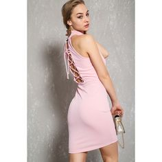 Sexy Pink Lace Up Mock Neck Bodycon Dress (€29) ❤ liked on Polyvore featuring dresses, body con dress, bodycon cocktail dresses, lace up prom dress, cocktail prom dress and pink cocktail dress