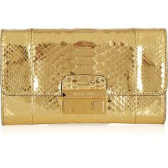 Michael Kors Gia metallic python clutch ($555) ❤ liked on Polyvore featuring bags, handbags, clutches, purses, michael kors, bolsas, python handbags, michael kors handbags, metallic purse and gold purse