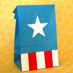 goody bag idea - simple Captain America bags... or maybe just use white paper bags decorated with stickers?