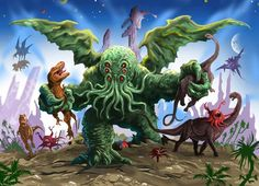 Cthulhu with dinosaurs artist unknown via HPLHS