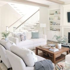 Open concept living room, open staircase, neutral decor, classic gray Benjamin Moore sofa with white Living Room Grey, Home Living Room, Interior Design Living Room, Living Room Designs, Open Living Rooms, Living Room Decor Beach, Living Room Open Concept, Staircase In Living Room, Neutral Living Rooms