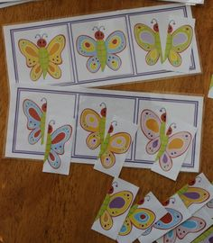 "Butterfly Matching Boards - A puzzle and visual discrimination activity for preschool and pre-k.....could be a great addition to a busy bag or a unit on ""The Very Hungry Caterpillar""."