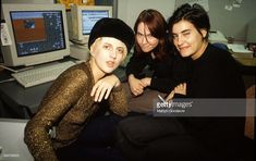 Justine Frischmann, Donna Mathews and Sheila Chipperfield of Elastica in the NME offices, London, United Kingdom, 1996.