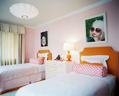 Palmer Weiss design featured in Lonny Magazine || Pink and orange make a great team.