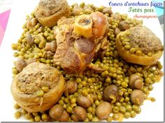 A delicious Algerian dish, a recipe that smell good vegetables. stuffed artichoke hearts, peas and mushrooms. Algerian Recipes, Algerian Food, My Favorite Food, Favorite Recipes, Artichoke Hearts, Smell Good, Stew, Stuffed Mushrooms, Beans