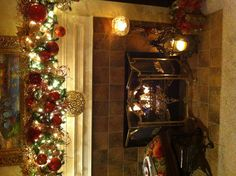 Working on my Christmas mantle decorations tonight. Love all the ideas on Pinterest !