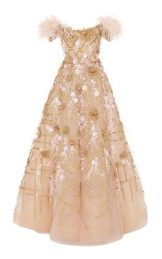 Off Shoulder Ostrich Feather Embroidered Ball Gown by MARCHESA for Preorder on Moda Operandi Designer Evening Dresses, Evening Gowns, Ball Gown Dresses, Dress Up, Marchesa Fashion, Casual Dresses, Fashion Dresses, Fantasy Dress, Pretty Dresses