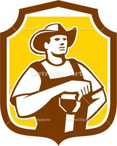 agriculture, artwork, crest, farm worker, farmer, graphics, illustration, isolated, male, man, organic, organic farmer, retro, shield, shove...