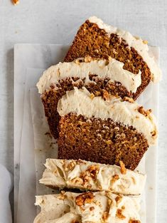 olives+thyme – chai spiced carrot loaf cake with brown butter cream cheese - Cupcakes Delicious Fruit, Yummy Food, Carrot Loaf, Spring Cake, Loaf Cake, Köstliche Desserts, Fall Dessert Recipes, Cupcake Recipes, Healthy Recipes