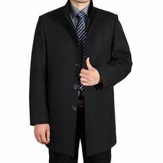 Men's Wool Jackets Men Woolen Coats Middle Long Jackets And Coats Mens Warm Wool Overcoat Size
