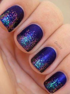 Purple Glitter Tip Nails.