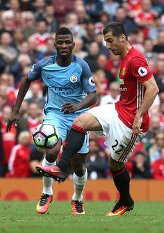 Henrikh Mkhitaryan of Manchester United competes with Kelechi Iheanacho of…