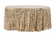 """Large Payette Sequin 132"""" Round Tablecloth - Champagne #sequins #tablecloth #glitz #glitzydecor 120 Round Tablecloth, Sequin Tablecloth, Head Tables, Banquet Tables, Wholesale Tablecloths, Table Overlays, Bridal Table, Paper Lace, Wedding Reception Decorations"""