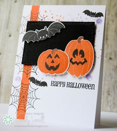 handmade Halloween crd from I scrap my way ... black, white, orange ... happy jack-o-lanterns and bats ... fresh look ...