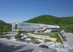 Jeonggwan Aqua Dream Park – NORTHPOINT Office Building Architecture, Building Facade, Facade Architecture, Building Design, Entrance Design, Facade Design, Public Library Design, Urban Design Concept, Exterior Rendering
