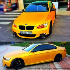 BMW 320 gedippt mit AutoSprühFolie weiss + Colour Tint gelb, ASF transparent + EFFECT PIGMENT Goldeffekt