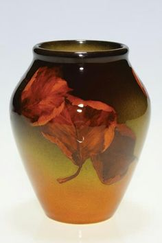 ~Rookwood~Artist: Edith R. Felton~Circa 1903~Arrangement Of Leaves That Have Changed To Their Autumn Colors-Standard Glazed Vase~