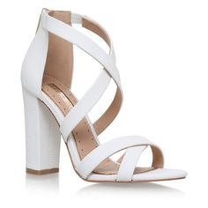 Faun White High Heel Sandals (385 BRL) ❤ liked on Polyvore featuring shoes, sandals, white sandals, white colour shoes, white shoes, white heeled sandals and heeled sandals