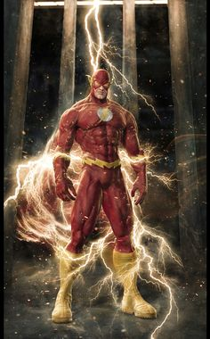 Portrait: The Flash - Fastest Man Alive - 3D, Fantasy, Illustrations, Photoshop, Portrait