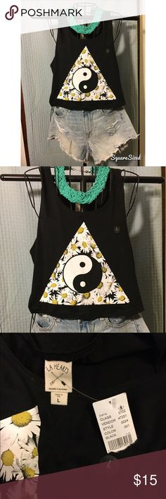 Ying Yang LA Hearts crop top Brand new never worn crop top. Size large still has tags! Paired with turquoise Old Navy necklace! Will sell together for $15.. and $12 for shirt only! LA Hearts Tops Crop Tops