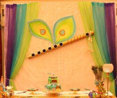 Krishna Theme decor - DesiDIY Cradle Decoration, Mandir Decoration, Ganpati Decoration At Home, Ganapati Decoration, Diwali Decorations At Home, School Decorations, Wedding Decorations, Birthday Decorations, Wedding Ideas