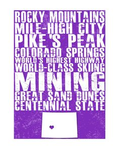 USA STATE PRINTS 8x10 Colorado State City Print by PrintTypes, $14.99
