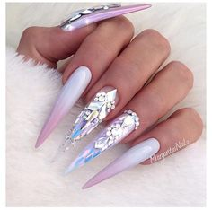 Chrome And French Ombré Stiletto Nails by MargaritasNailz from Nail Art Gallery Sparkle Nails, Glam Nails, Fancy Nails, Bling Nails, Rhinestone Nails, Love Nails, Stiletto Nails, Beauty Nails, My Nails
