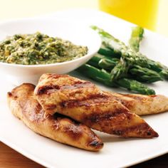 Grilled Chicken Tenders with Cilantro Pesto- use coconut oil instead