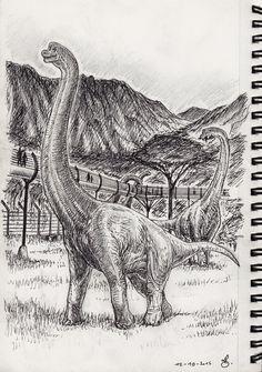 inktober_12__brachiosaurus_walk_at_jurassic_world_by_spinojp-d9f1pcm