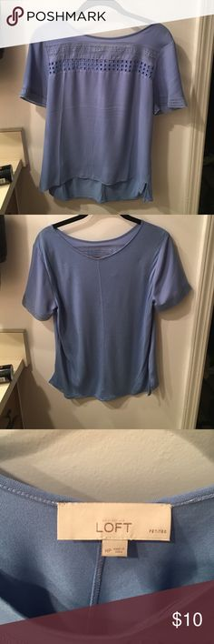Short Sleeve Blue Blouse Light wear blue blouse from the LOFT. Mixed media shirt - true to size! Make me an offer 👏🏻 LOFT Tops Blouses