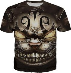 Follow the white rabbit Alice ;) Cheshire cat reimagined, men fit t-shirt in brown colors, cartoon style Fantasy creature, cool all-over-print apparel - for more art and design be sure to visit www.casemiroarts.com, item printed by RageOn at www.rageon.com/a/users/casemiroarts - also available at www.casemiroarts.com - This product is hand made and made on-demand. Expect delivery to US in 11-20 business days (international 14-30 business days). (time frames are aproximate) #shirts #clothing… Funny Shirts, Cool T Shirts, Men Shirts, Casual Shirts, Cheshire Cat, Cartoon Styles, Printed Tees, Fantasy Creatures, Brown Colors