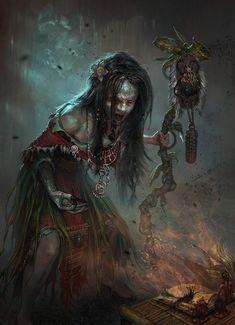 Andrei Pervukhin Concept Art and Illustration Witch Voodoo Dark Fantasy Art, Fantasy Artwork, Fantasy Kunst, Fantasy Rpg, Dark Art, Fantasy Witch, Fantasy Paintings, Digital Art Illustration, Witch Doctor