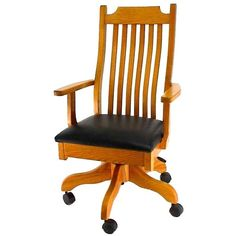 Amish Mission Desk Chair ($532) ❤ liked on Polyvore featuring home, furniture, chairs, office chairs, wheel chair, hardware furniture, adjustable chair, gas lift chair and adjustable office chair