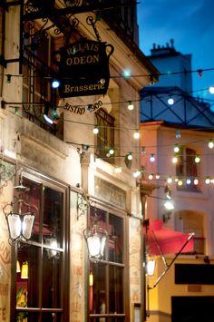 Paris Night Photo - The Odeon Bistro, Colorful Parisian Cafe at Night, Urban Home Decor