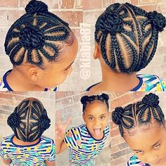 See 31 GORGEOUS braid hairstyles for Black women and kids. You'll get NEW ideas and updos for Black braided hair. Box braids hairstyles for girls & much more. Black Kids Braids Hairstyles, Childrens Hairstyles, Baby Girl Hairstyles, Braided Hairstyles For Black Women, Braids For Black Hair, Children Braided Hairstyles, American Hairstyles, Curly Hairstyles, Little Girl Braids
