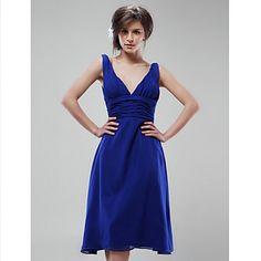 A-line V-neck Knee-length Chiffon Bridesmaid/ Wedding Party Dress – USD $ 79.99