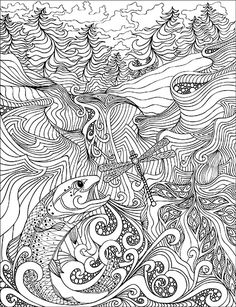 """This book picks up right where the second edition left off. As my work has progressed these past couple of years, my drawings have become more technical, and the patterns more intricate. The pages in this book are pretty darn complicated and will demand more focus and attention… which also leads to increased coloring-euphoria! So, if you're a """"big kid"""" who loves to color, and you feel up to the challenge, please join me on a fantastic voyage through some of my recent work, and put your own…"""