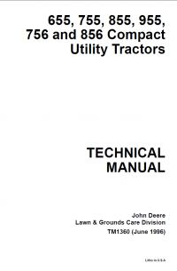 Technical manual contains service instructions, system manuals, specifications, schematics for compact utility tractors John Deere.