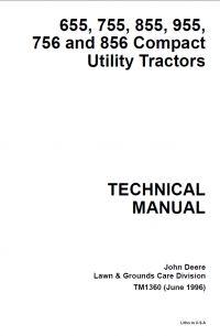 repair manual John Deere 655 755 855 955 756 856 Compact Utility Tractors Technical Manual TM-1360